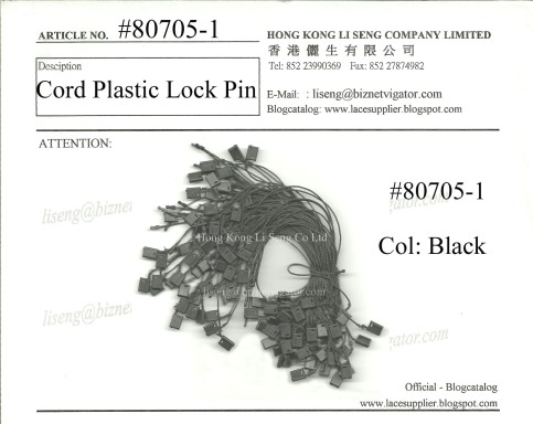 Packaging Materials Cord Plastic String Lock Pin Supplier - Hong Kong Li Seng Co Ltd