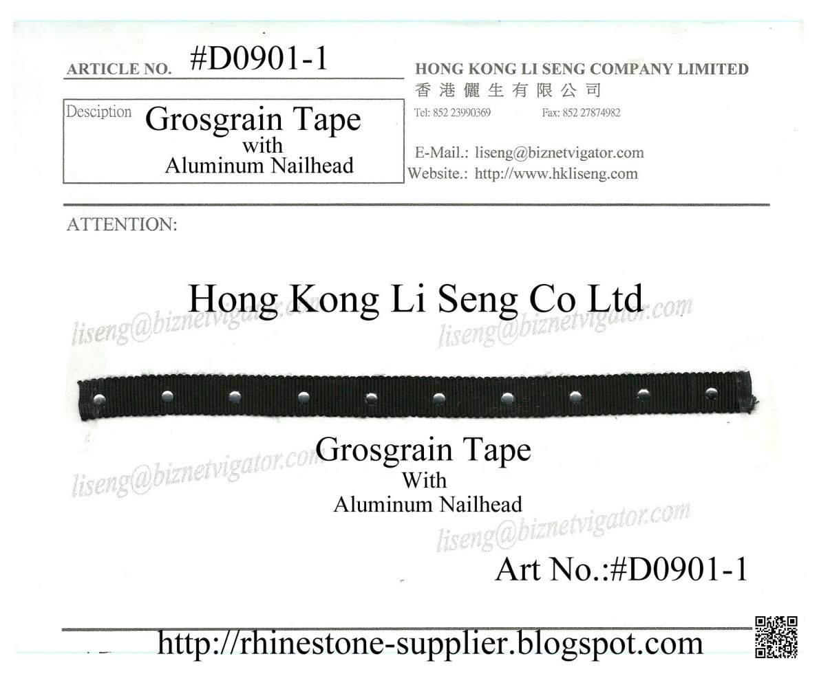 Black Grosgrain Tape with Alumium Nailhead or Studs Manufacturer Wholesale and Supplier