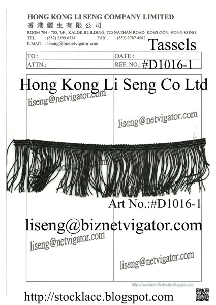 Black Tassels ( Garment Accessories ) Manufacturer Wholesale and Supplier - Hong Kong Li Seng Co Ltd